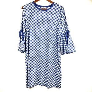 Isaac Mizrahi dress bell sleeves gingham blue